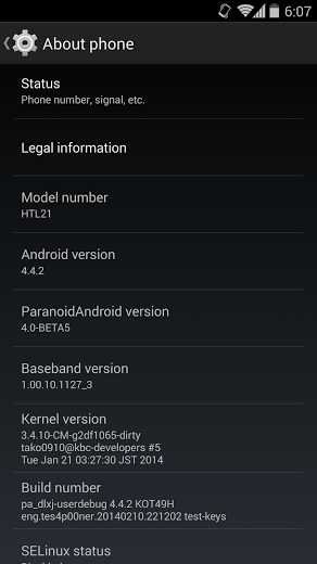 Android Kitkat (4.4.2) for HTC J Butterfly (HTL21)